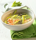 Exotic soup with green asparagus