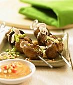 Vietnamese mushroom kebabs with peanut dip