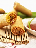Spring rolls on bamboo place mat