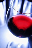 A glass of red wine, close-up
