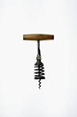 Antique corkscrew with wooden handle