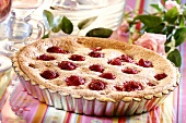 Raspberry tart in the tin