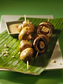 Skewered mushrooms with peanut sauce (Vietnam)