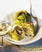 Savoy cabbage roulades with mushroom filling