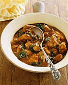 Butter chicken (Indian chicken dish) with spinach