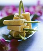 Mango and mint ice cream on sticks