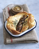 Toad in the hole (Sausages in Yorkshire pudding batter, England)