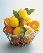 Citrus fruit in wire basket