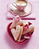 Valentine hearts with cappuccino