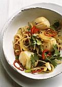 So xao mi (Scallops with mi noodles, Vietnam)