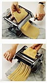 Making tagliatelle using a pasta maker
