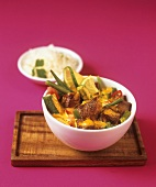 Lamb curry with okra pods