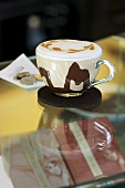 Cappuccino with hot chocolate