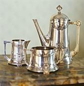 Silver coffee pot, cream jug and sugar bowl
