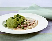 Easter ham with pea puree
