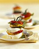 Courgette, tomato and mozzarella tower