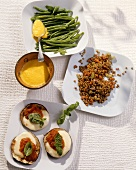 Green beans, braised lentils and aubergines with tomato