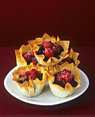 Cranberry mince tarts in filo pastry