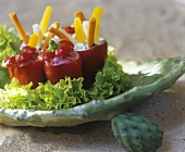 Vegetable finger food with dips in peppers