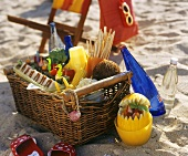 Picnic basket on the beach