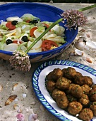 Herb meatballs with salad