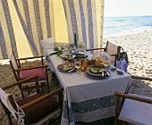 Laid table on the beach