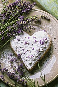 Heart-shaped lavender biscuit