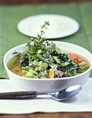 Bean stew with barley and thyme
