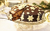 A cake for Christmas with marzipan decorations