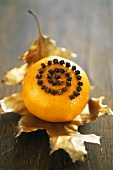Orange studded with cloves on gilded holly leaf