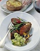 Roast venison (medium) with mashed potato and celeriac