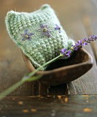 Lavender in lavender bag and stalk of lavender