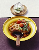 Ossobuco con la gremolata (Braised slices of shin of veal)