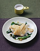 Greenland halibut in rosé wine butter sauce with chard