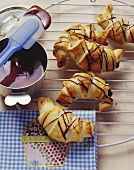 Puff pastry croissants with chocolate and banana filling