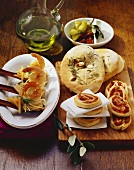 Rosemary flatbread, pizza pinwheels & pasta salad with prawns