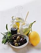 Mediterranean ingredients: olives, balsamic vinegar, oil, yoghurt, lemon