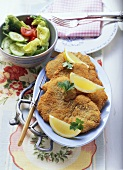 'Wiener-style' turkey escalopes with mixed salad