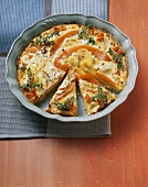 Potato and pumpkin gratin with sheep's cheese and thyme