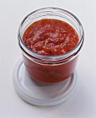 Tomato sauce in screw-top jar