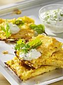 Potato and cabbage rosti with tzatziki