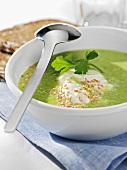 Creamy pea and lettuce soup with sesame seeds