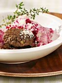 Venison burgers with beetroot mashed potato