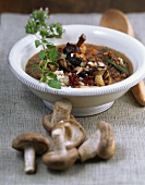 Shiitake mushroom and lentil soup