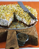 Savoury pumpernickel cheesecake with radish sprouts