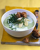 Creamed asparagus soup with ramsons (wild garlic)