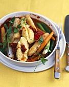 Asparagus stew with cheese dumplings