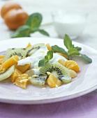 Fruit salad with mandarin yoghurt sauce