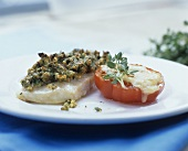 Fillet of Nile perch with herb crust and grilled tomato