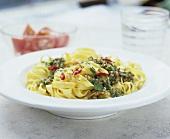 Tagliatelle with parsley and chilli pesto